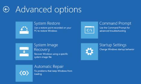 advance options troubleshoot on PC