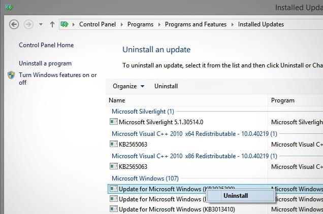 roll back recent windows update