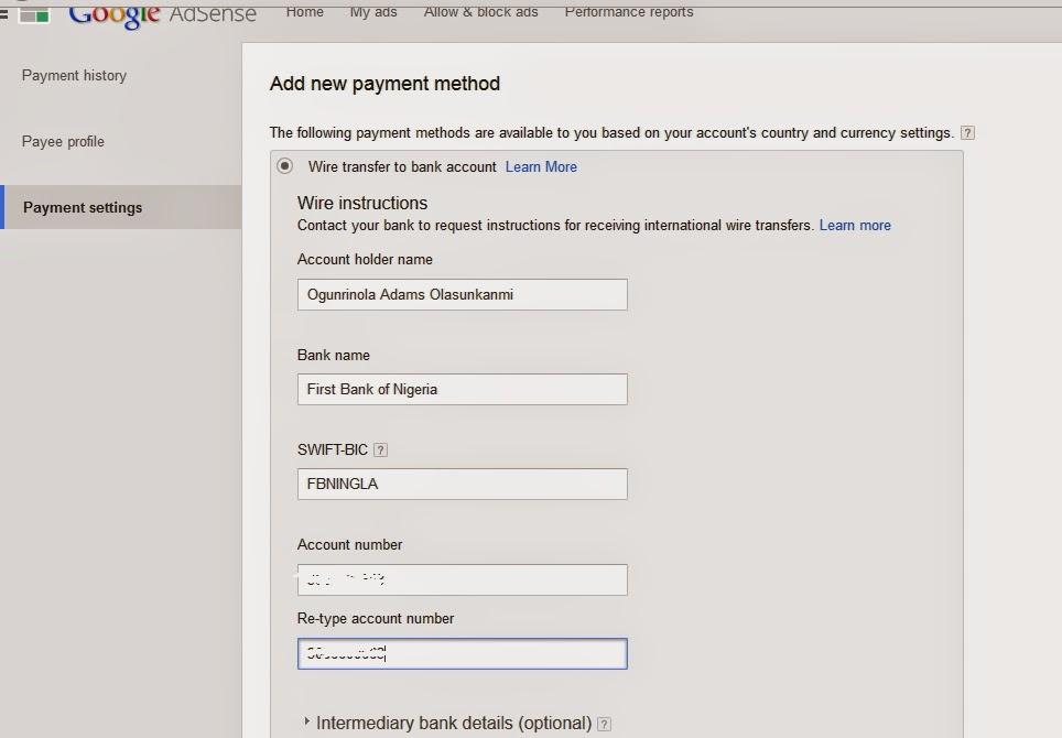 adsense payment settings techblogng - HiideeMedia