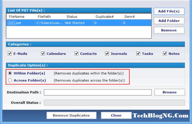 Outlook Duplicates Remover -TechBlogng.com