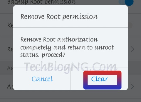 remove Android root permission