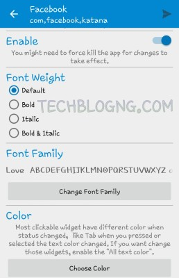 different font for different apps on android