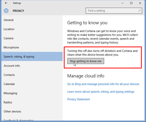 stop getting to know me Windows 10