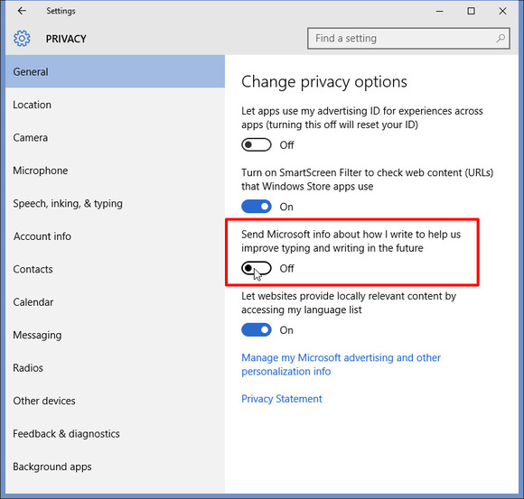 privacy windows 10 settings menu
