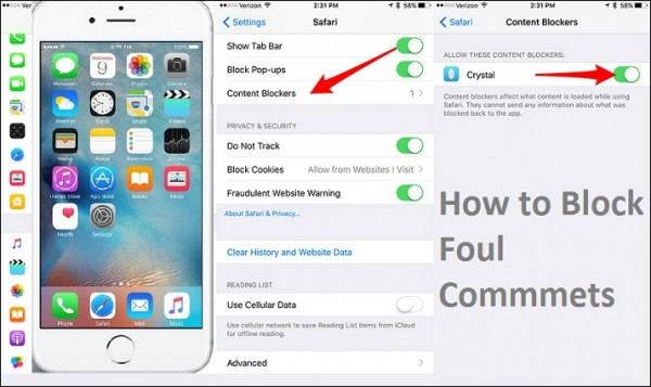 Block Foul Comments on iOS 9 Browser