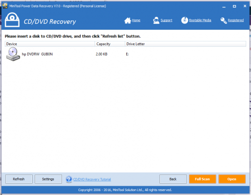 MiniTool Power Data Recovery CDDVD Recovery