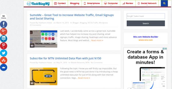 Standard website layout techblogng