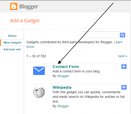 how to add contact form gadget on bloger