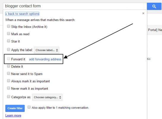 add forwarding address Gmail