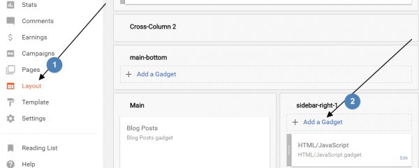 adding a gadget in blogger into blogger blogs