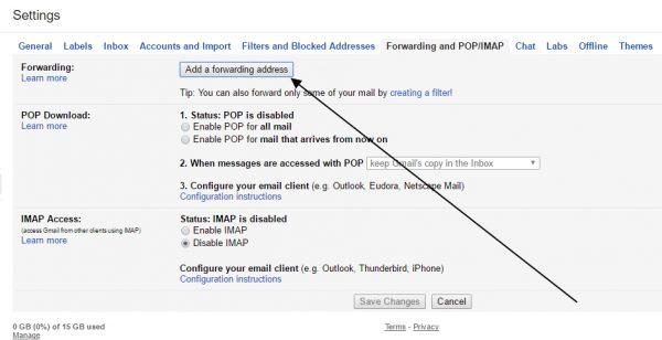 click to add forwarding address