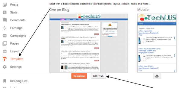 How to Edit blogger templates