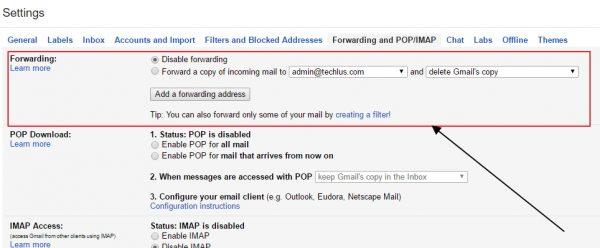 forwarding email address on Gmail