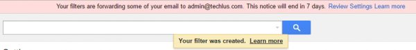 Gmail filter was created