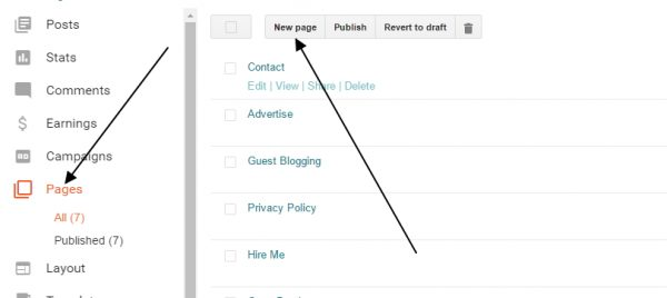 how to create a page on blogger dashboard