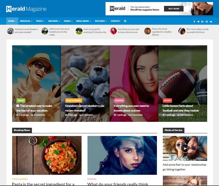herald wordpress magazine theme - HiideeMedia