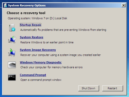 Windows system recovery options