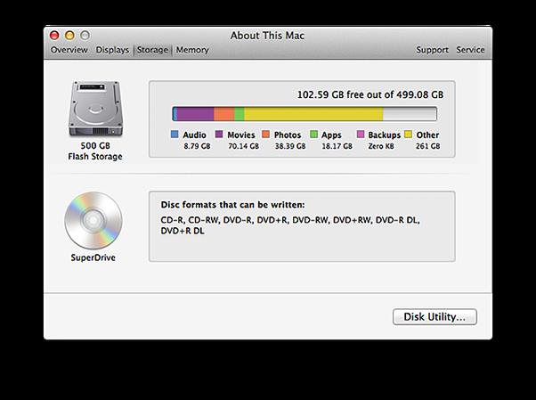 Storage display of Mac