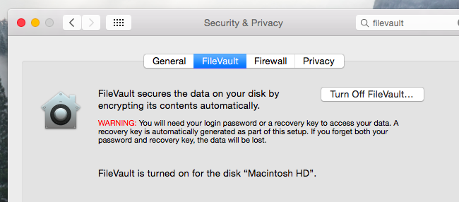 filevault on Mac