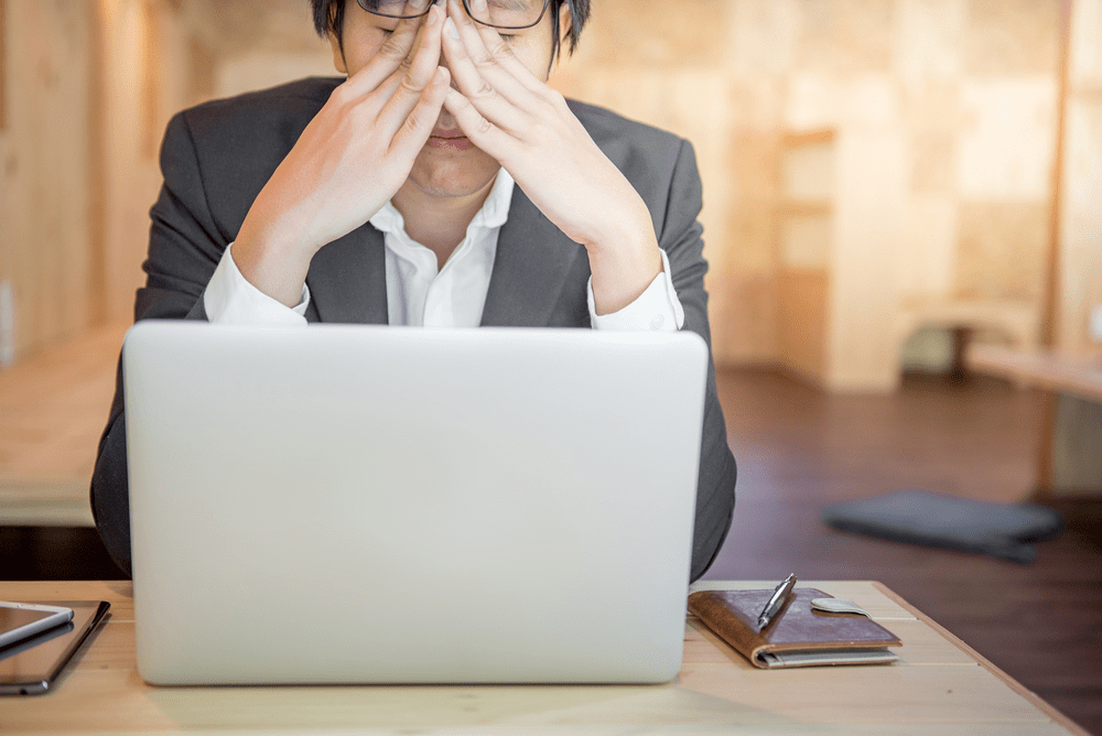 virus infected computer headache