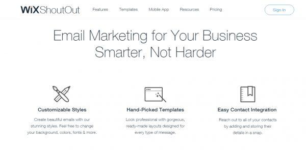 wix shoutout email marketing