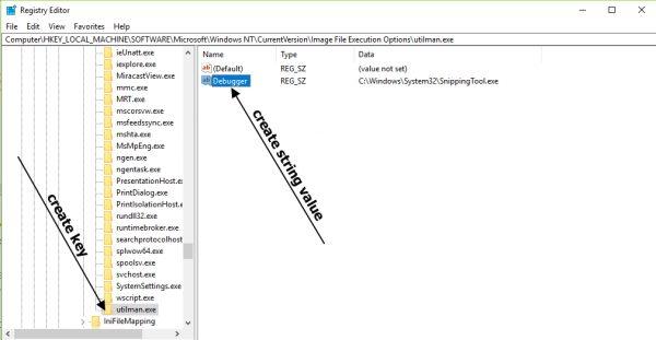 create registry key for login screen screenshot