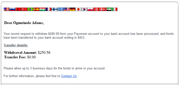 withdraw funds from Payoneer to Nigeria account