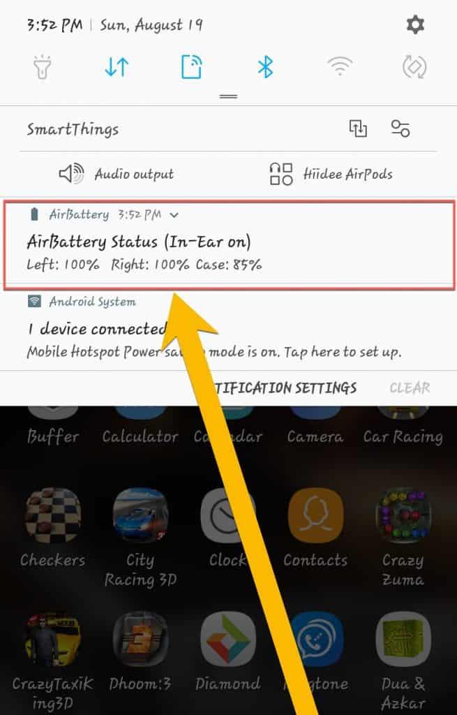 Airpods battery bar
