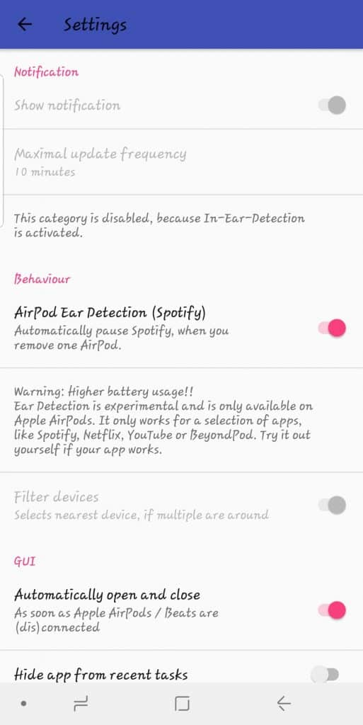 airbattery settings for airpods